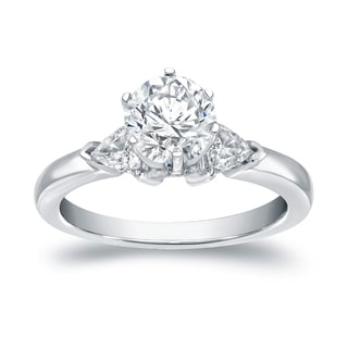 Auriya 14k White Gold 1 ct TDW 3 Stone Diamond Engagement Ring (I-J, VS1-VS2)
