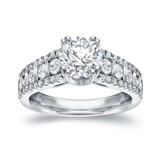 Auriya 14k White Gold 1 1/2ct TDW Certified Round Cut Diamond Engagement Ring (H-I, SI1-SI2)