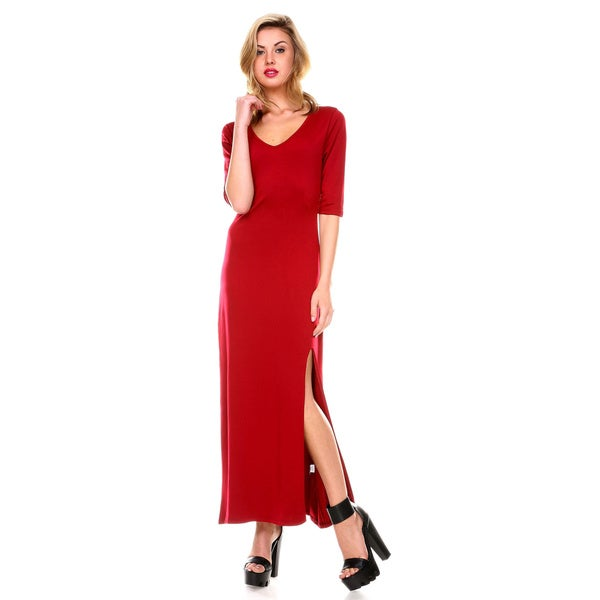 Stanzino Women's V-neck Maxi Dress with Slit 15782504