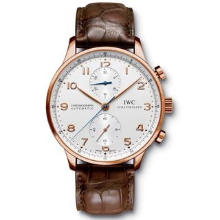 IWC Men's IW371480 'Portuguese' Chronograph Automatic 18kt Rose Gold Brown Leather Watch