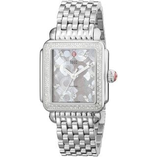 Michele Women's Stainless Steel Diamond 'Deco' Pink Mother of Pearl Watch