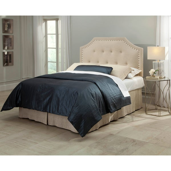 Fashion Bed Group Avignon Upholstered Headboard with Button Tufting and Contrast Tape Nailhead Trim