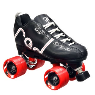 Labeda Voodoo U3 Quad Customized Black Roller Speed Skates with Red Dart Wheels