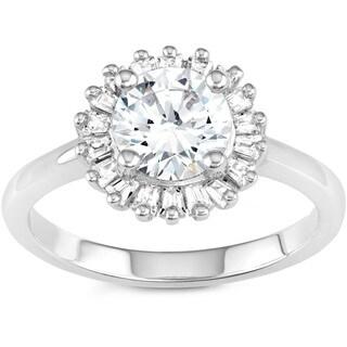 La Preciosa Sterling Silver Cubic Zirconia Halo Circle Ring