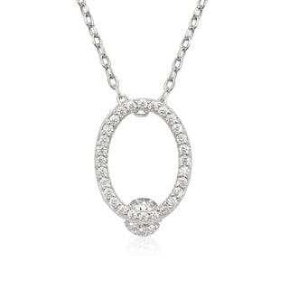 La Preciosa Sterling Silver Open Oval Cubic Zirconia Necklace