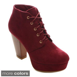 Bellamarie Goldie-21 Women's Lace Up Platform Stacked Chunky Heel Ankle Booties