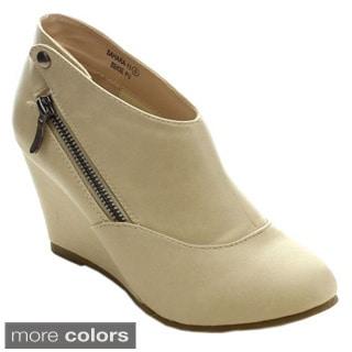 Bellamarie Sahara-15 Women's Side Zipper Button Wedge Dress Ankle Booties