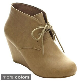 Bellamarie Sally-15 Women's Lace Up Wrapped Wedge Heel Ankle Booties