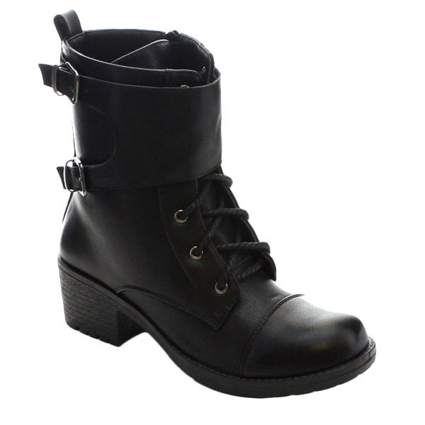Bellamarie Ryder-11 Women's Chic Cap Toe Lace Up Inside Zip Mid-calf Boots