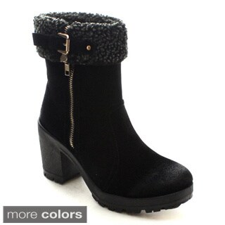 Bellamarie Tenesee-17 Women's Side Zip Buckled Lug Sole Faux Fur Snow Boots