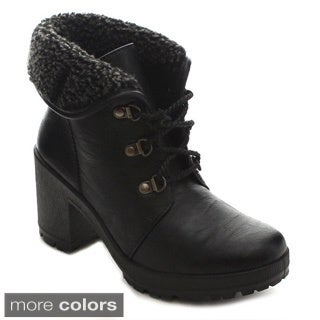 Bellamarie Tenesee-19 Women's Fold Cuff Lace Up Lug Sole Platform Chunky Boots