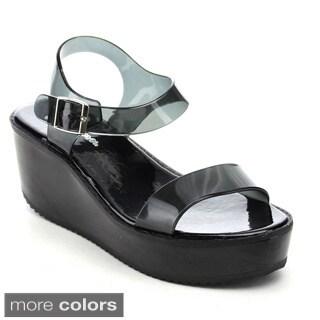 Forever Skimm-32 Women's Platform Chunky Heel Ankle Strap Jelly Sandals