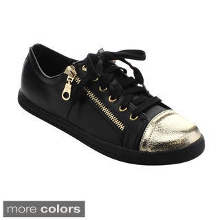 Jacobies Beverly Hills Vaness-18 Women's Low Top Lace Up Two-tone Zipper Sneaker
