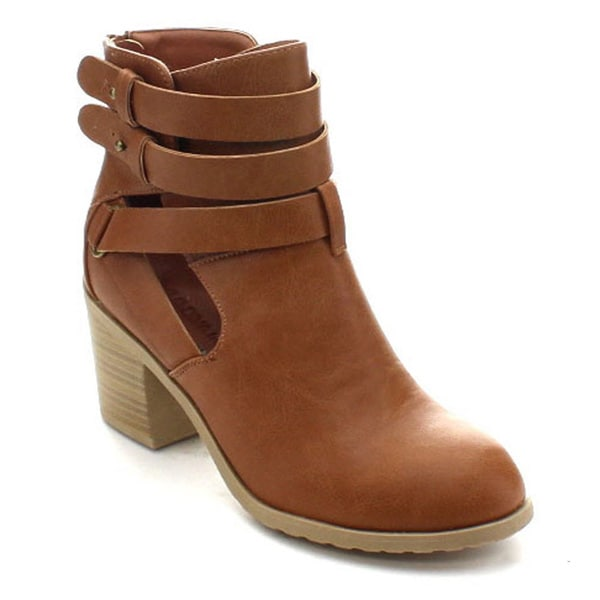 Wild Diva Jess-23 Women's Strappy Side Cut Out Chunky Ankle Boots