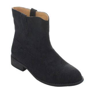 Wild Diva Oksana-46 Women's Casual Low Chunky Heel Ankle Boots