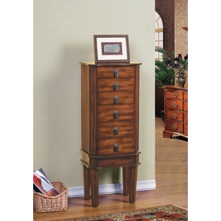 W Unlimited Bedford Poplar Wood Jewelry Armoire with Mirror, Coffee Brown