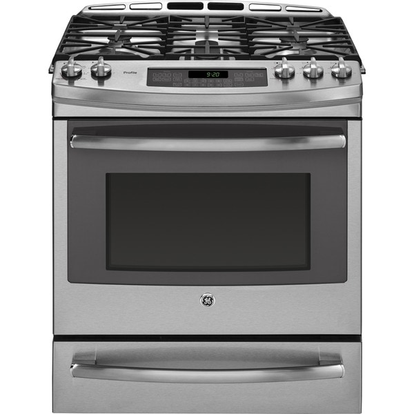 GE Profile Series 30-inch Dual Fuel Slide-in Range with Warming Drawer