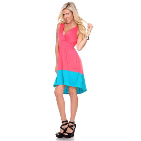 Stanzino Women's Colorblock V-neck Knee Length Dress