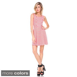 Stanzino Women's A-line Button Accents Striped Dress