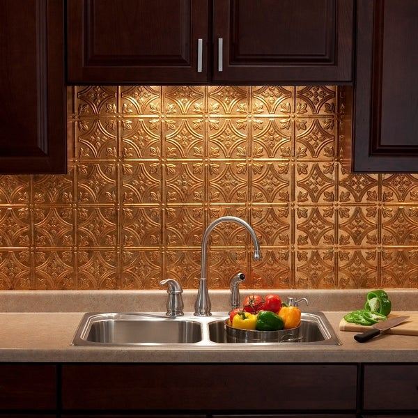 Fasade Traditional Style 10 Brushed Aluminum 18 In X 24: Fasade Traditional Style #1 Muted Gold Backsplash 18-inch