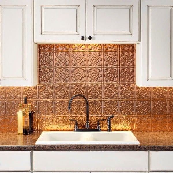 Fasade Traditional Style 10 Brushed Aluminum 18 In X 24: Fasade Traditional Style #1 Polished Copper Backsplash 18
