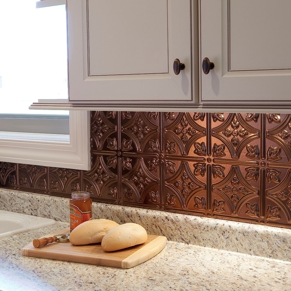 Fasade Traditional Style 10 Brushed Aluminum 18 In X 24: Fasade Traditional Style #1 Oil Rubbed Bronze Backsplash