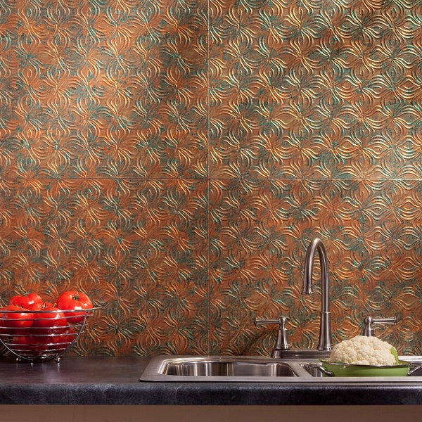 Fasade Lotus Backsplash in Copper Fantasy 8-square-foot Kit