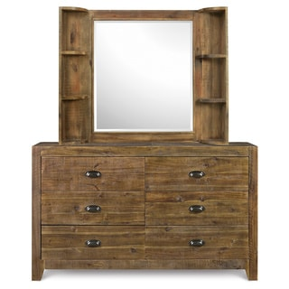 Magnussen Y2377 Braxton Wood Landscape Mirror with Shelves
