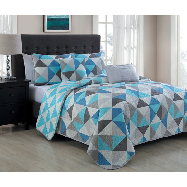 Avondale Manor Seraphina Blue 5-piece Quilt Set