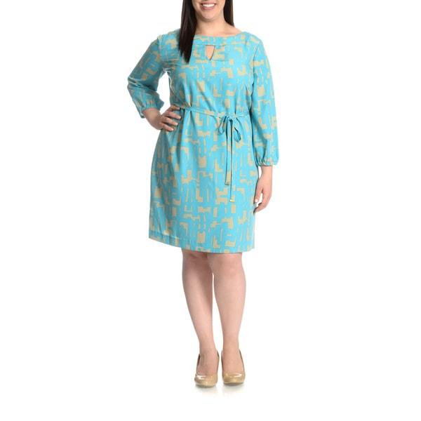 Tahari Arthur S. Levine Women's Plus Size Abstract Print Tie Belt Crepe Shift Dress