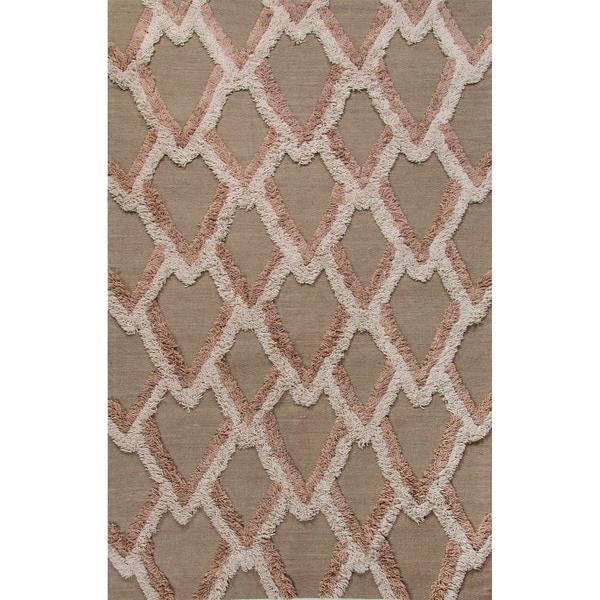 Flatweave Geometric Pattern Aluminum/Moon Rock Wool (5x8) Area Rug
