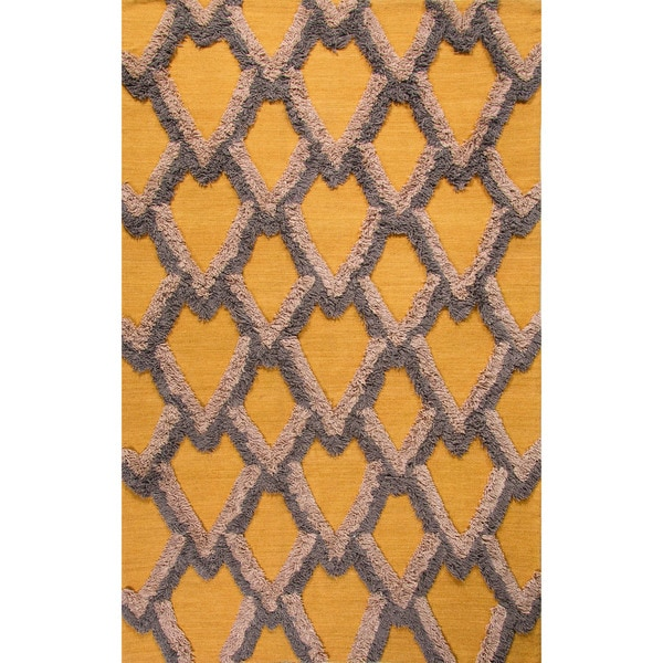 Flatweave Geometric Pattern Amber/Simply Taupe Wool (5x8) Area Rug
