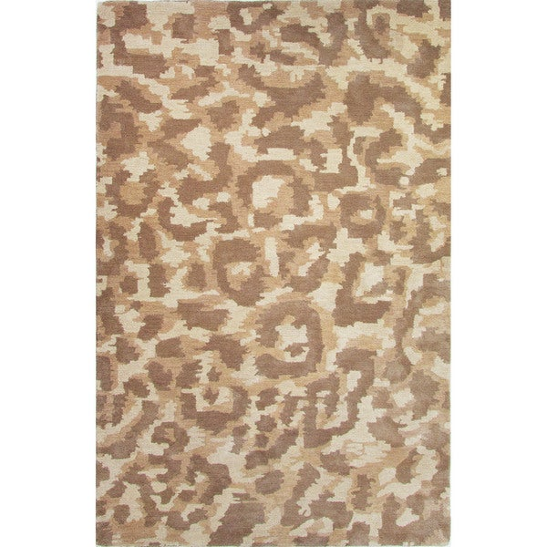 Hand-Tufted Animal Pattern Oatmeal/Aluminum Wool (5x8) Area Rug