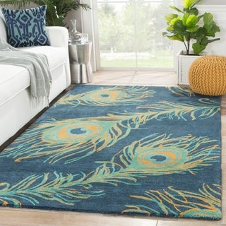 Hand-Tufted Animal Pattern Blueashes/Bayou Wool (5x8) Area Rug