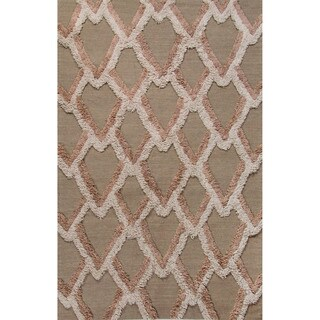 Flatweave Geometric Pattern Aluminum/Moon Rock Wool (2x3) Area Rug