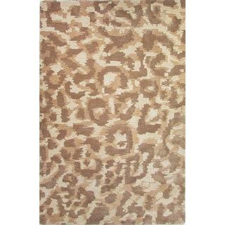 Hand-Tufted Animal Pattern Oatmeal/Aluminum Wool (2x3) Area Rug