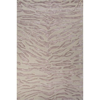 Hand-Tufted Animal Pattern Opal gray/Blue fox Wool (2x3) Area Rug