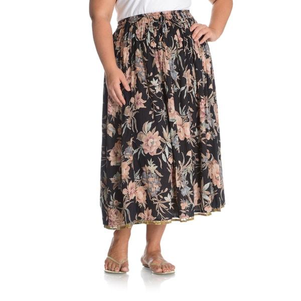 La Cera Women's Plus Size Reversible Floral Printed A-Line Skirt