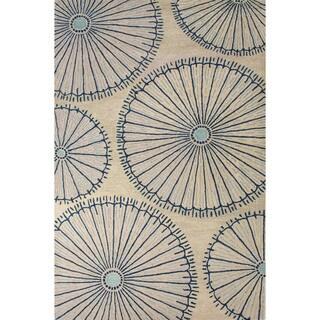 Hand-Tufted Geometric Pattern Fog/Ensign blue Wool (2x3) Area Rug