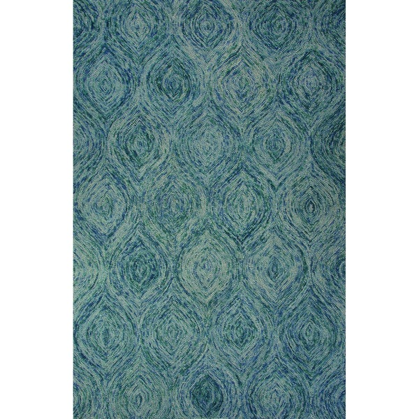 Hand-Tufted Abstract Pattern Mineral blue/Green-blue slate Wool (2x3) Area Rug (As Is Item)
