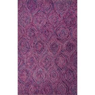 Hand-Tufted Abstract Pattern Keepsake lilac/Aegean blue Wool (2x3) Area Rug
