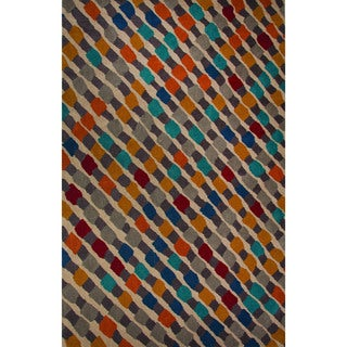 Hand-Tufted Geometric Pattern Praire sand/Excaliber Wool (5x8) Area Rug