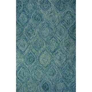 Hand-Tufted Abstract Pattern Mineral blue/Green-blue slate Wool (5x8) Area Rug