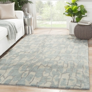 Hand-Tufted Abstract Pattern Blue shadow/Dark denim Wool (5x8) Area Rug