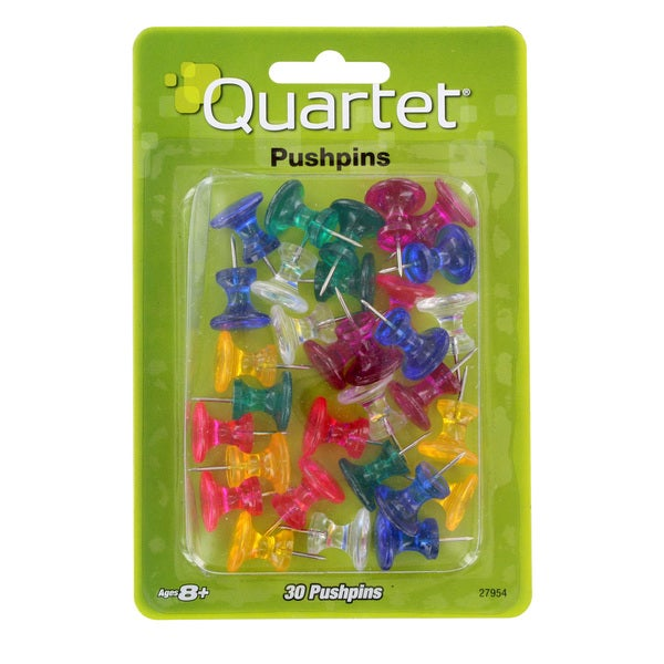 Quartet 1-Inch Assorted Colors Push Pins