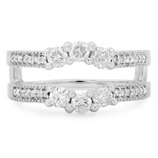 14k White Gold 3/4ct TDW Round Diamond Wedding Band 3-stone Enhancer Guard Ring (H-I, I1-I2)