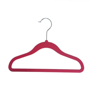 Pink Velvet Non-Slip Child Size Clothing Hangers (10-pack)