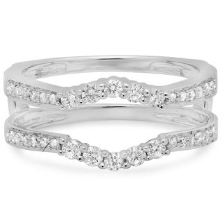 14k White Gold 2/5ct TDW Diamond Wedding Enhancer Guard Double Ring (H-I, I1-I2)