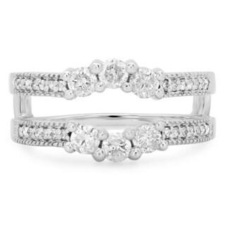 14k White Gold 4/5ct TDW Diamond 3-stone Enhancer Guard Double Ring (I-J, I1-I2)