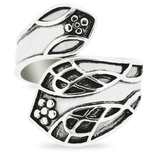 Silver-Wear Swirls Sterling Silver Antique Finish Rustic Sylvan Motif Spoon Ring